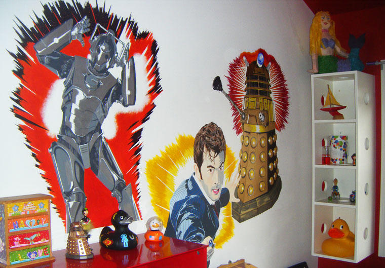 Dr Who mural on wall